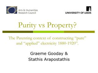 Purity vs Property   The Patenting context of constructing  pure  and  applied  electricity 1880-1920 .