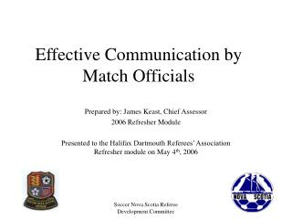 Effective Communication by Match Officials