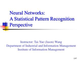 Neural Networks:  A Statistical Pattern Recognition Perspective
