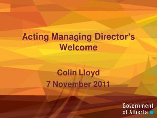 Acting Managing Director s Welcome