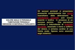 DOLORE ANALE E PERIANALE TUMEFAZIONE PERIANALE EMISSIONE DI MATERIALE PURULENTO