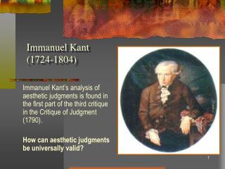 Immanuel Kant  1724-1804