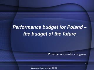 Performance budget for Poland   the budget of the future