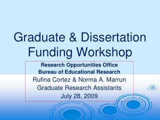 Graduate  Dissertation Funding Workshop