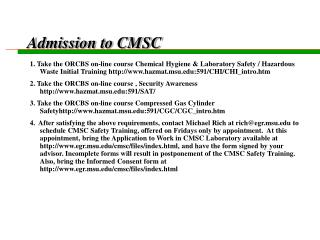 Admission to CMSC