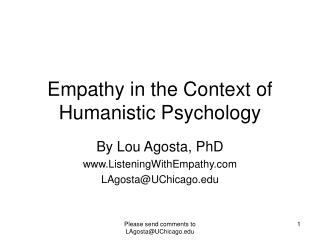 Empathy in the Context of Humanistic Psychology