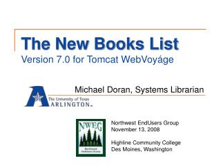 The New Books List Version 7.0 for Tomcat WebVoy ge