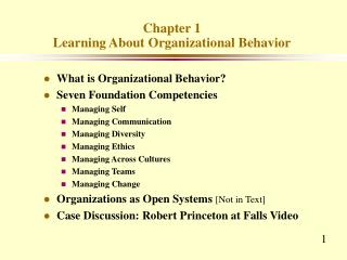 Chapter 1 Learning About Organizational Behavior