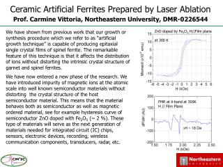 Ceramic Artificial Ferrites Prepared by Laser Ablation Prof. Carmine Vittoria, Northeastern University, DMR-0226544