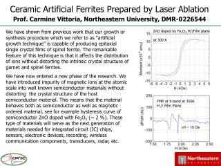 Ceramic Artificial Ferrites Prepared by Laser Ablation Prof. Carmine Vittoria, Northeastern University, DMR-0226544