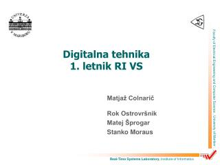 Digitalna tehnika 1. letnik RI VS