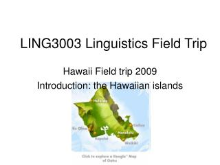 LING3003 Linguistics Field Trip