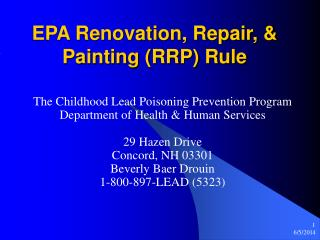 EPA Renovation, Repair,  Painting RRP Rule