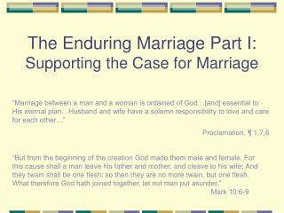The Enduring Marriage Part I: Supporting the Case for Marriage
