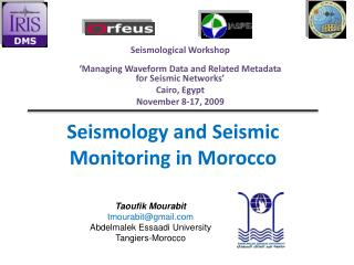 Seismology and Seismic Monitoring in Morocco