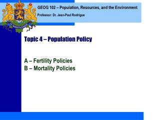 Topic 4   Population Policy