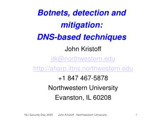 Botnets, detection and mitigation: DNS-based techniques