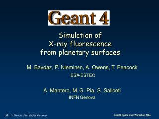 Simulation of  X-ray fluorescence  from planetary surfaces