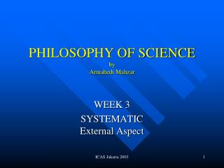 PHILOSOPHY OF SCIENCE by Armahedi Mahzar