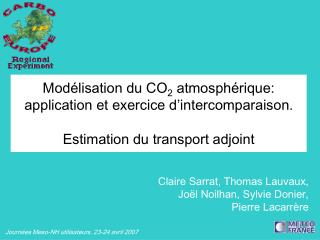 Mod lisation du CO2 atmosph rique: application et exercice d intercomparaison.  Estimation du transport adjoint