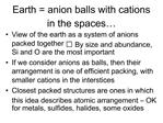 Earth  anion balls with cations in the spaces