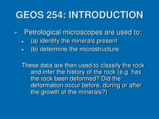 GEOS 254: INTRODUCTION