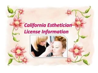 California Esthetician License Information
