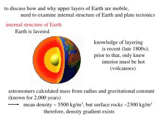 To discuss how and why upper layers of Earth are mobile,  need to examine internal structure of Earth and plate tectonic