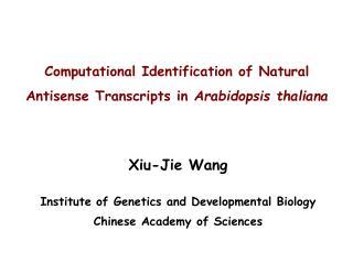 Computational Identification of Natural Antisense Transcripts in Arabidopsis thaliana