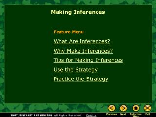 What Are Inferences Why Make Inferences Tips for Making Inferences Use the Strategy Practice the Strategy