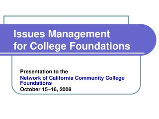 Issues Management for College Foundations