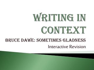Writing in Context