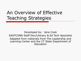 An Overview of Effective Teaching Strategies