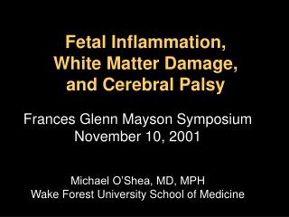 Fetal Inflammation,  White Matter Damage,  and Cerebral Palsy