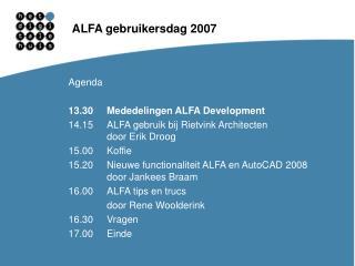ALFA gebruikersdag 2007