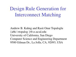 Design Rule Generation for Interconnect Matching