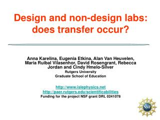 Design and non-design labs: does transfer occur
