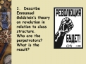 1.  Describe Emmanuel Goldstein s theory on revolution in relation to class structure.   Who are the perpetrators   What