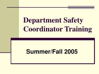 Department Safety Coordinator Training