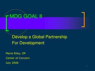 MDG GOAL 8