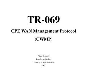 TR-069 CPE WAN Management Protocol CWMP