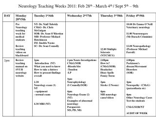 Neurology Teaching Weeks 2011: Feb 28th  March 4th