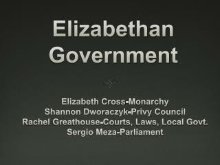 Elizabethan Government
