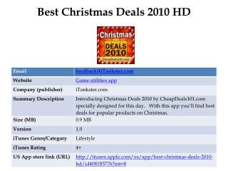 Best Christmas Deals 2010 HD