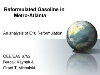 Reformulated Gasoline in   Metro-Atlanta