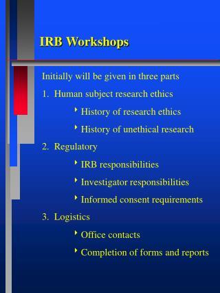 IRB Workshops