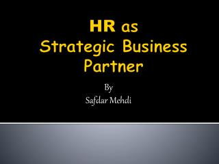 HR as Strategic Business Partner