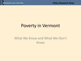 Poverty in Vermont