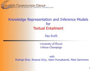 Knowledge Representation and Inference Models  for  Textual Entailment