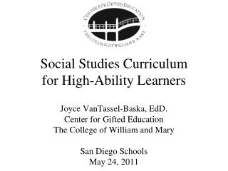 Social Studies Curriculum  for High-Ability Learners